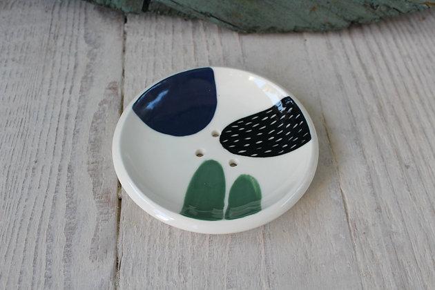 Navy/Green Abstract Ceramic Soap Dish - Handmade Irish Gifts - Irish Pottery - Homewares - New Home Gifts