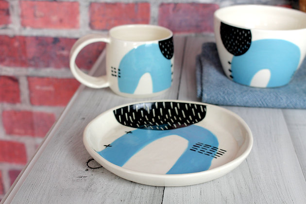 Blue Abstract Ceramic Side Plate - Handmade Irish Gifts - Irish Pottery - Tableware