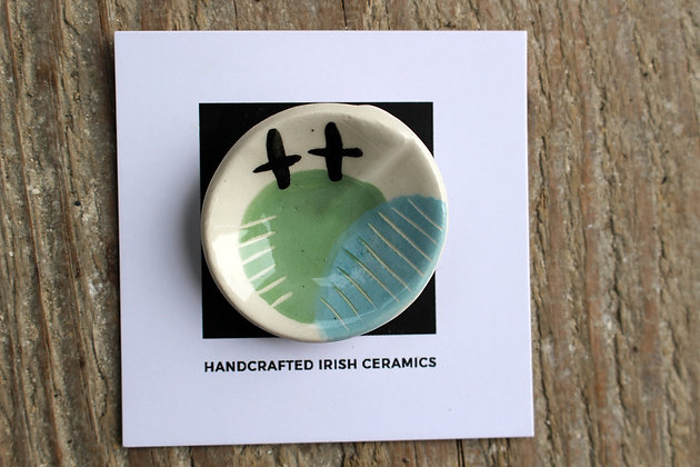 Curved Ceramic Abstract Brooch - Handmade Irish Gifts