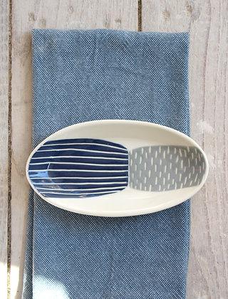 Navy/Grey Block Ceramic Nibbles Bowl - Handmade Irish Gifts - Irish Pottery - Tableware