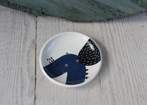 Navy Abstract Ceramic Soap Dish & Beaker - Handmade Irish Gifts - Irish Pottery - Homewares - New Home Gifts
