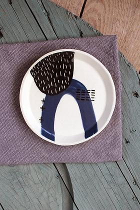 Navy Abstract Ceramic Side Plate - Handmade Irish Gifts - Irish Pottery - Tableware
