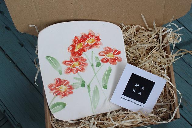 Ceramic Decorative Geum Floral Tile - Handmade Irish Gifts - Irish Pottery - Homeware - Decoration