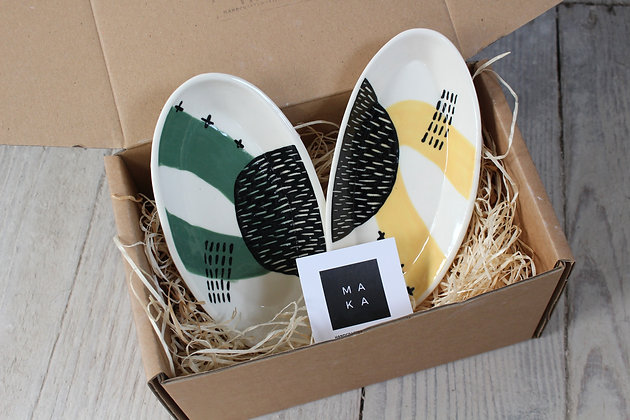 Green/Yellow Abstract Ceramic Olive Dish Gift Set - Handmade Irish Gifts - Irish Pottery - Tableware - Christmas Gifts