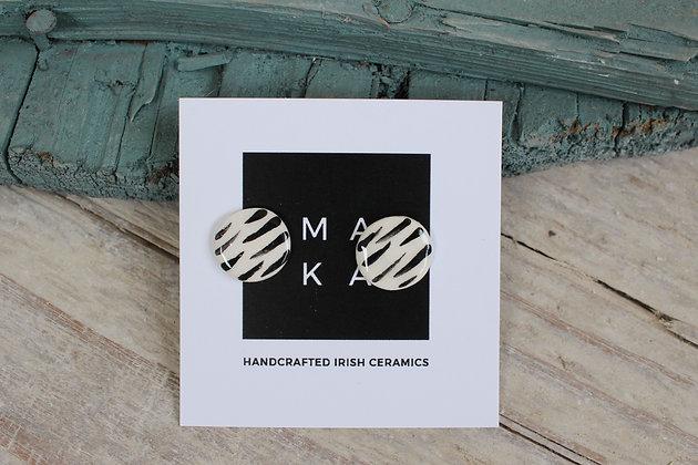 Zebra Ceramic Earrings  | Handmade Irish Gifts | Christmas Gifts