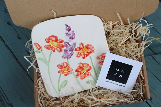 Ceramic Decorative Geum & English Lavender Floral Tile - Handmade Irish Gifts - Irish Pottery - Homeware - Decoration