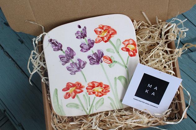 Ceramic Decorative English Lavender & Geum Floral Tile - Handmade Irish Gifts - Irish Pottery - Homeware - Decoration