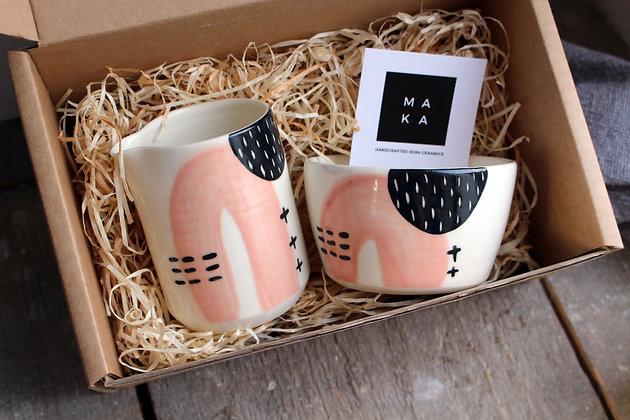 Blush Abstract Ceramic Creamer & Sugar Bowl Set - Handmade Irish Gifts - Irish Pottery - Tableware