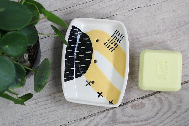 Yellow Abstract Rectangular Ceramic Soap Dish - Handmade Irish Gifts - Irish Pottery - Homewares - New Home