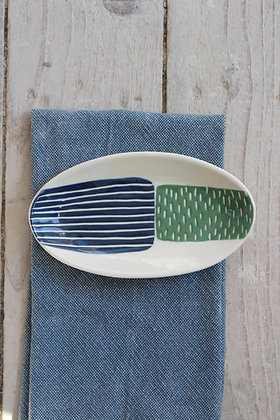 Navy/Green Block Ceramic Nibbles Bowl - Handmade Irish Gifts - Irish Pottery - Tableware