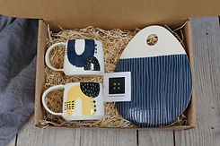 Yellow_Navy cups and navy platter gift s