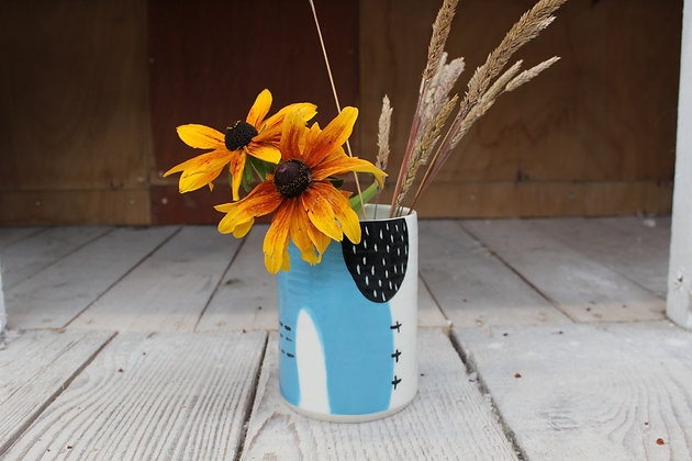 Abstract Blue Vase | Ceramic Homewares | Handmade Irish Gifts