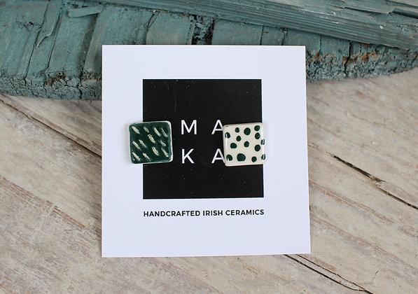 Emerald Mix Ceramic Earrings  | Handmade Irish Gifts | Christmas Gifts