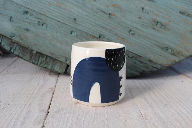 Navy Abstract Ceramic Beaker - Handmade Irish Gifts - Irish Pottery - Homewares - New Home Gifts