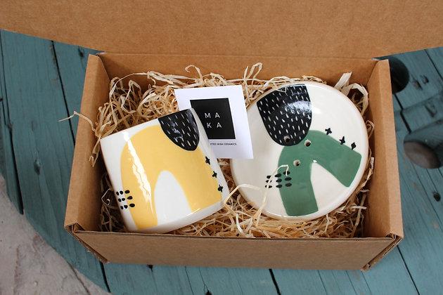 Yellow/Green Ceramic Bathroom Gift Set - Handmade Irish Gifts - Irish Pottery - Homewares - Irish Made Occasional Gifts