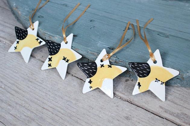 Yellow Mini Star gift set | Ceramic Decoration | Handmade Irish Gifts | Christmas Gifts