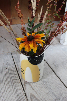Ceramic Yellow Abstract Vase - Irish Pottery - Homewares - Gift