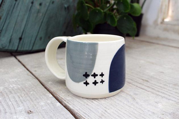Navy/Grey/Black Ceramic Coffee Cup - Handmade Irish Pottery – Gifts - Fathers Day - Homewares