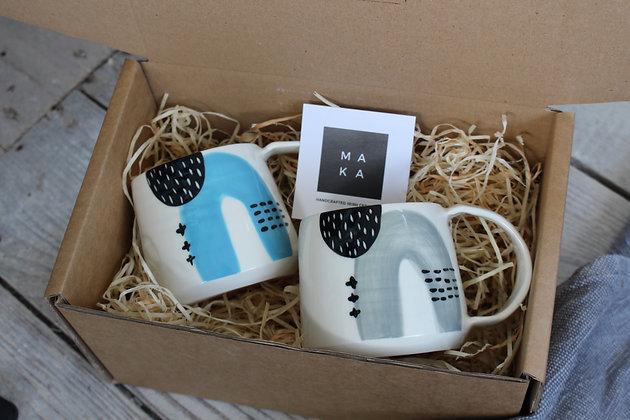 Blue & Grey Abstract Ceramic Coffee Cups Set - Handmade Irish Gifts - Irish Pottery - Tableware