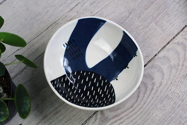 Navy Abstract Dish- Handmade Irish Gifts - Irish Pottery - Tableware - New Home Gifts