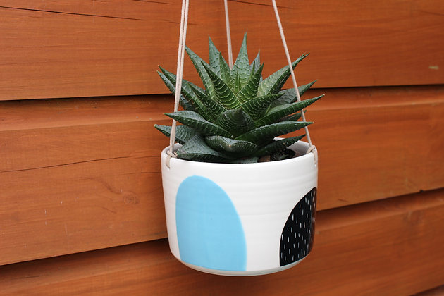 Blue/Black Hanging Planter - Plant Pot - Handmade Irish Gifts - Irish Pottery - Homewares - Irish Made Occasional Gifts