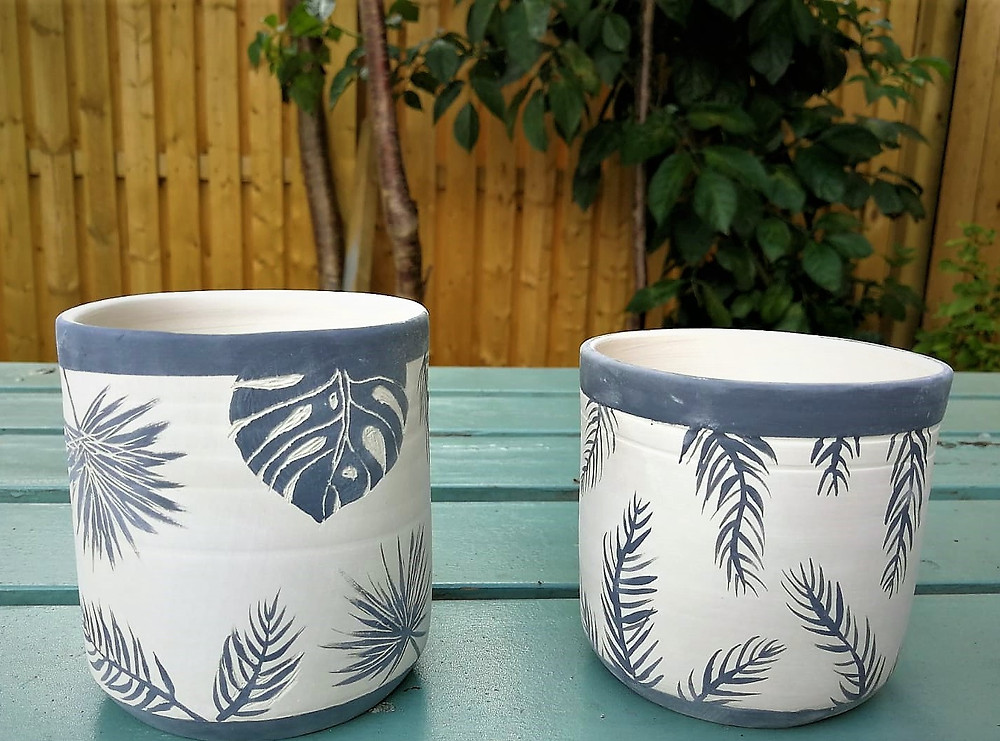 Irish pottery - designing planters - bisqued pots