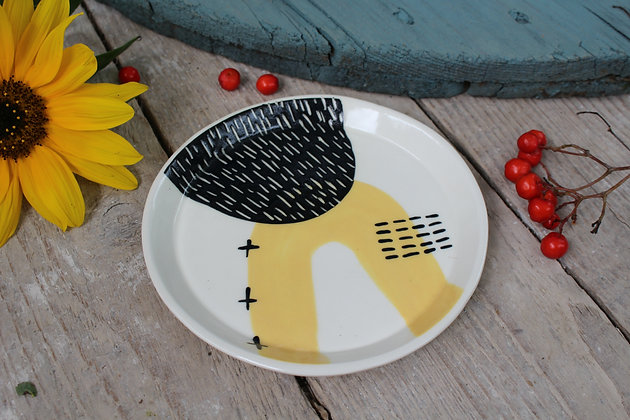 Yellow Abstract Ceramic Side Plate - Handmade Irish Gifts - Irish Pottery - Tableware