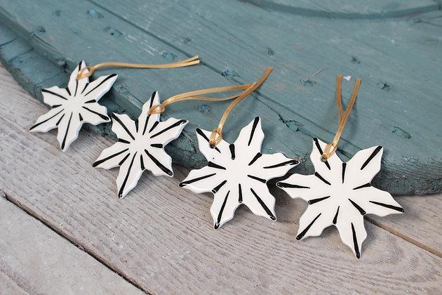 Black Snowflake Christmas Decoration gift set | Ceramic Decoration | Handmade Irish Gifts | Christmas Gifts