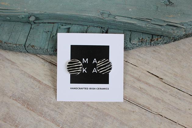 Black Stripe Ceramic Earrings  | Handmade Irish Gifts | Christmas Gifts