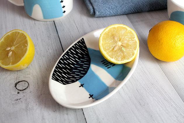 Blue Abstract Ceramic Olive Bowl - Handmade Irish Gifts - Irish Pottery - Tableware