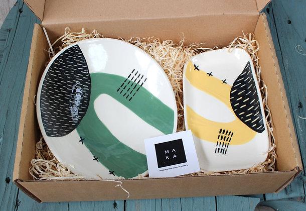 Green Dish & Yellow Platter Gift Set - Handmade Irish Gifts - Irish Pottery - Tableware - Irish Made Occasional Gifts