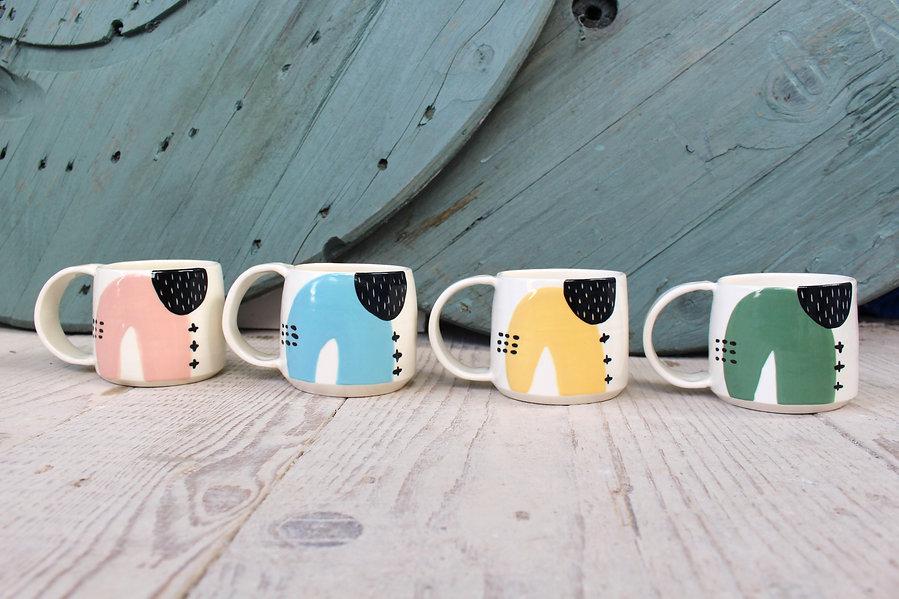 MAKA Ceramics - Irish Pottery - Pink Blue Yellow Green Coffee Cups
