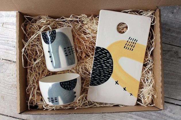 Grey Yellow Ceramic Brunch Gift Set - Handmade Irish Gifts - Irish Pottery - Tableware - Irish Made Christmas Gifts