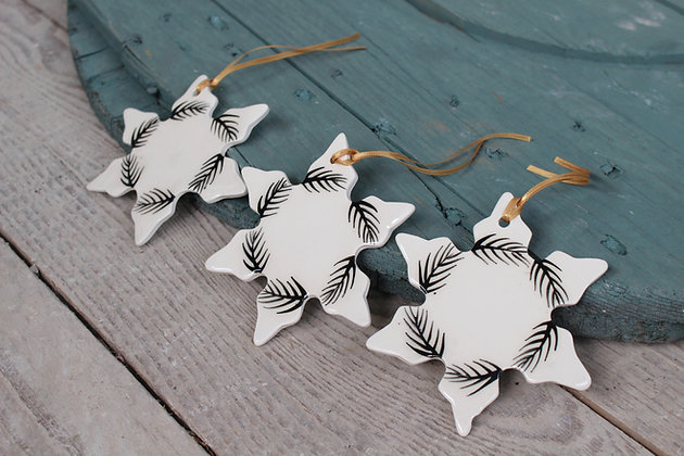 Black Fern Christmas Decoration gift set | Ceramic Decoration | Handmade Irish Gifts | Christmas Gifts