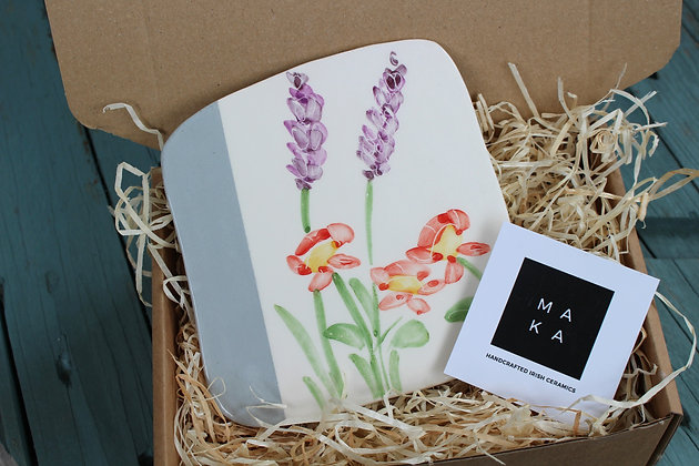 Ceramic Decorative English Lavender & Geum Floral Tile - Handmade Irish Gifts - Irish Pottery - Homeware - Decoration