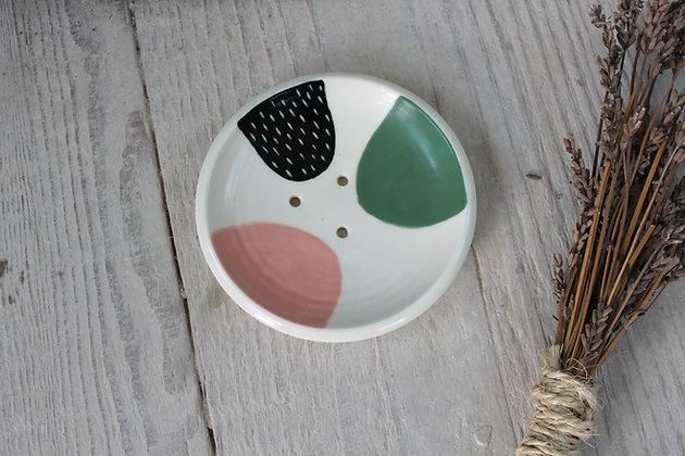 Blush/Green Abstract Ceramic Soap Dish - Handmade Irish Gifts - Irish Pottery - Homewares - New Home Gifts