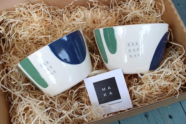 Navy/Green Ceramic Breakfast Gift Set - Handmade Irish Gifts - Irish Pottery - Tableware - Irish Made Occasional Gifts