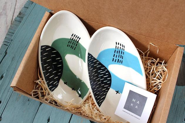 Green/Blue Ceramic Nibbles Dishes Gift Set - Handmade Irish Gifts - Irish Pottery - Tableware - Irish Made Occasional Gifts
