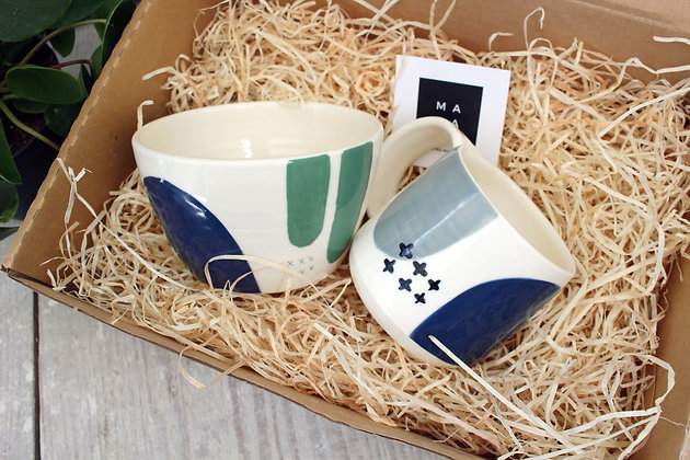 Navy/Green Ceramic Bowl & Navy/Grey Coffee Cup Set - Handmade Irish Pottery – Gifts - Homewares -  Fathers Day Gifts
