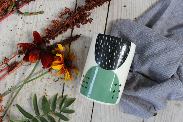 Ceramic Green Abstract Vase - Irish Pottery - Homewares - Gift