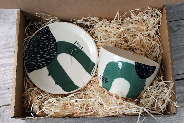Green Ceramic Breakfast Gift Set - Handmade Irish Gifts - Irish Pottery - Tableware - Irish Made Christmas Gifts
