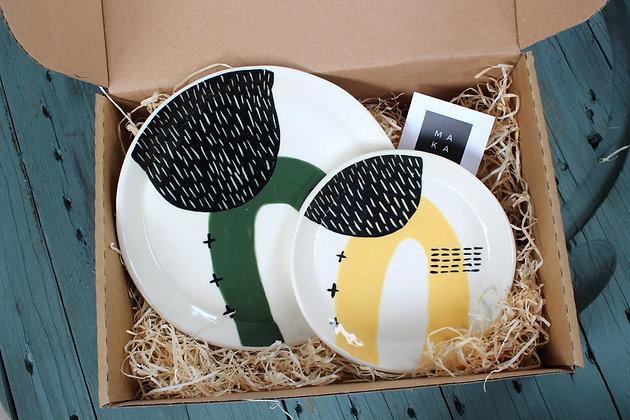 Green/Yellow Ceramic Plates Gift Set - Handmade Irish Gifts - Irish Pottery - Tableware - Irish Made Occasional Gifts