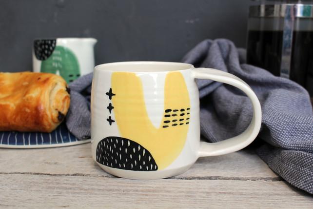MAKA Ceramics, Yellow/Black Coffee Cup - Irish Pottery