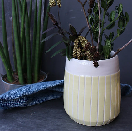 Yellow stripe tapered planter - Indoor Planter - Irish home-wares