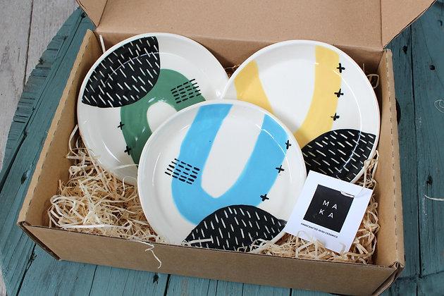 Blue/Green/Yellow Ceramic Cake Plate Gift Set - Handmade Irish Gift - Irish Pottery - Tableware - Irish Made Occasional Gifts