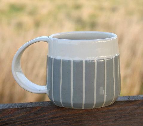 Grey Stripe Coffee Cup   Ceramic Tableware   Handmade Irish Gifts