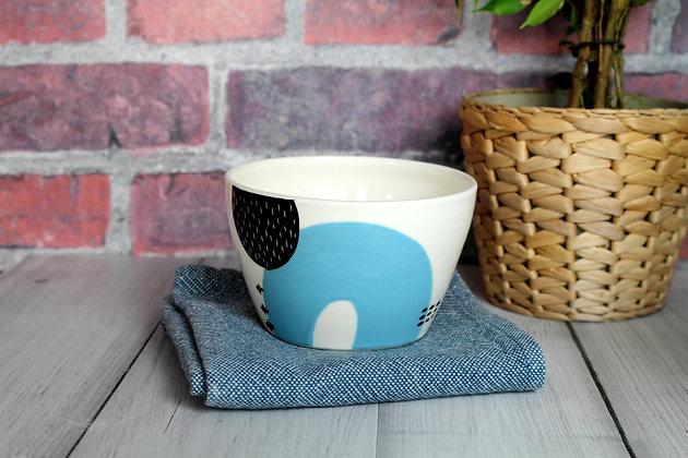 Blue Abstract Ceramic Breakfast Bowl - Handmade Irish Gifts - Irish Pottery - Tableware