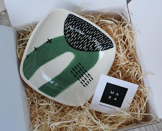 Green Abstract Square Dish Gift Box- Handmade Irish Gifts - Irish Pottery - Tableware - Christmas Gifts