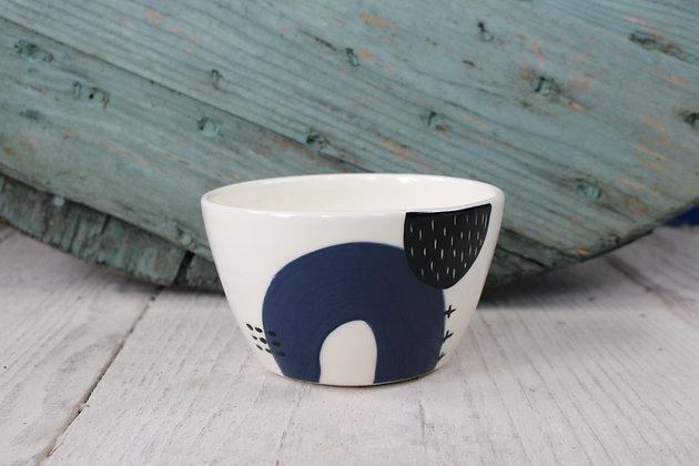 Navy Abstract Ceramic Breakfast Bowl - Handmade Irish Gifts - Irish Pottery - Tableware