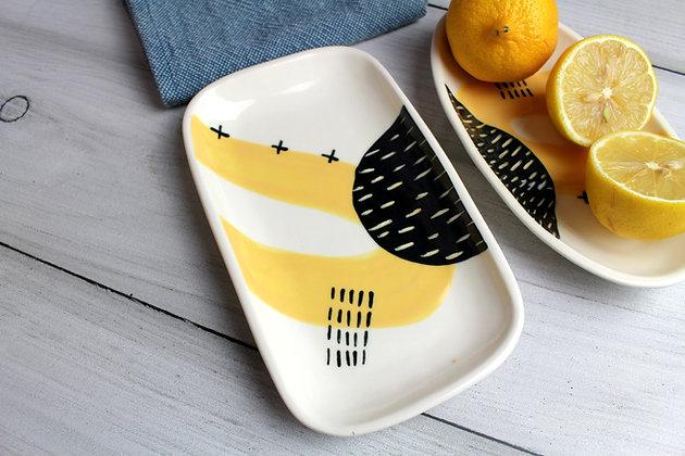 Yellow Abstract Ceramic Small Platter - Handmade Irish Gifts - Irish Pottery - Tableware